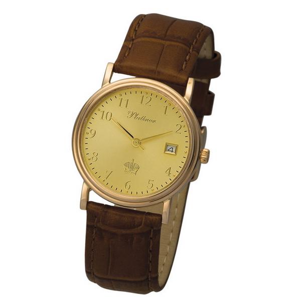 Модные наручные мужские часы, Часы золотые Platinor Витязь, 50650.405 Золотые часы от 8000 руб